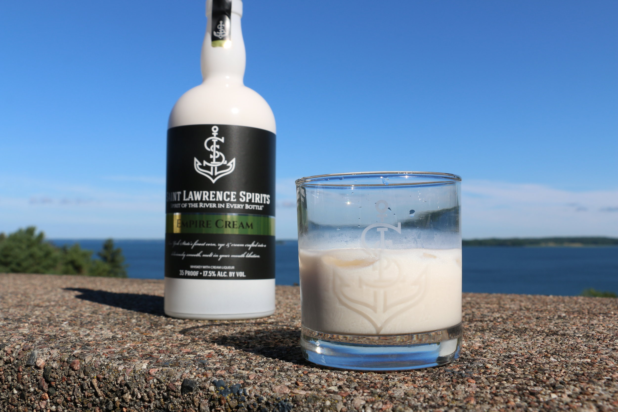 Saint Lawrence Spirits Empire Cream being enjoyed on the Chateau Terrace overlooking the Saint Lawrence River.