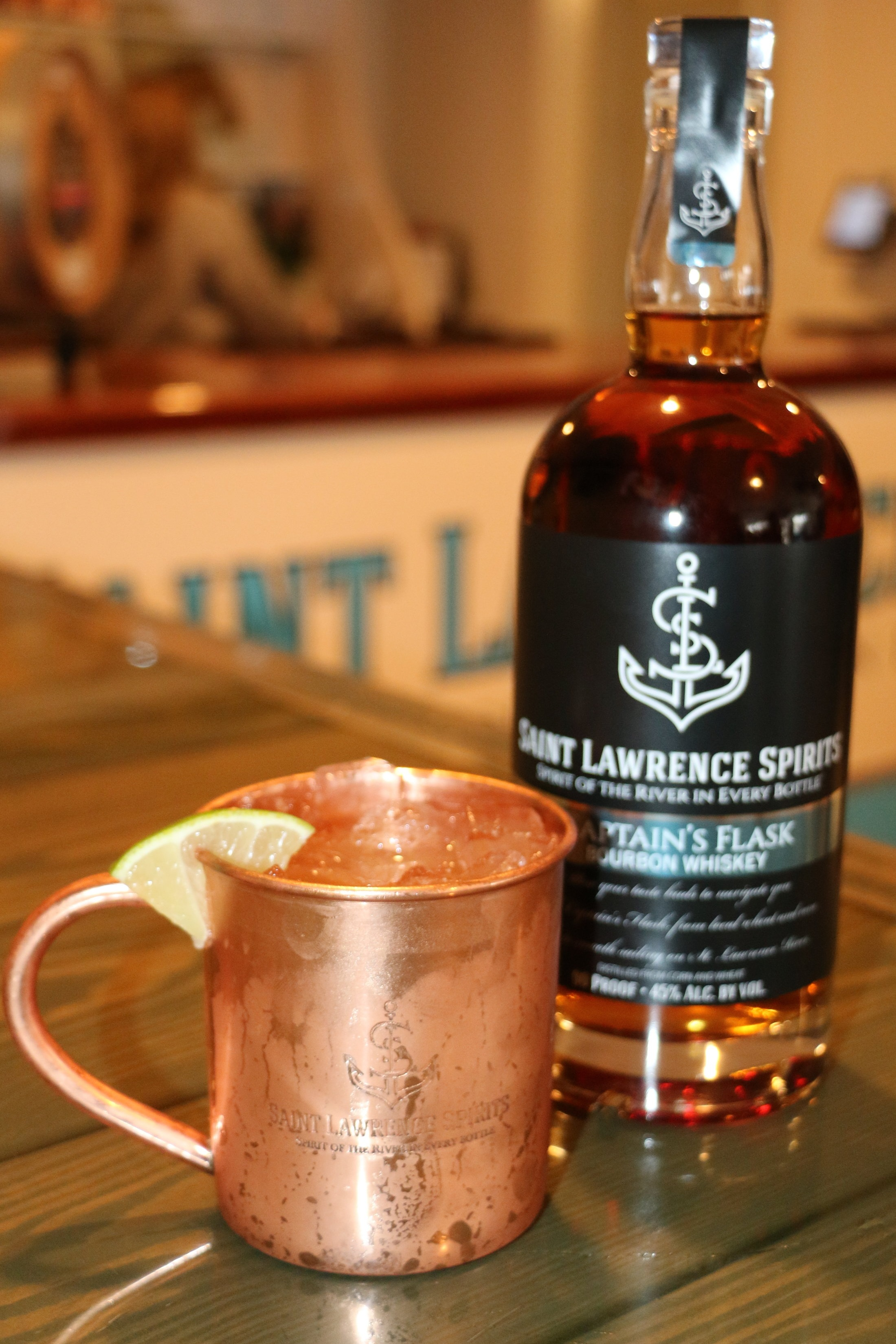 Shipwrecked Mule - 1,5 oz Captain's Flask Bourbon.5 oz. Lime JuiceYour Favorite Ginger Beer.Top with Ginger Beer in an Ice Filled Copper Cup & Enjoy.