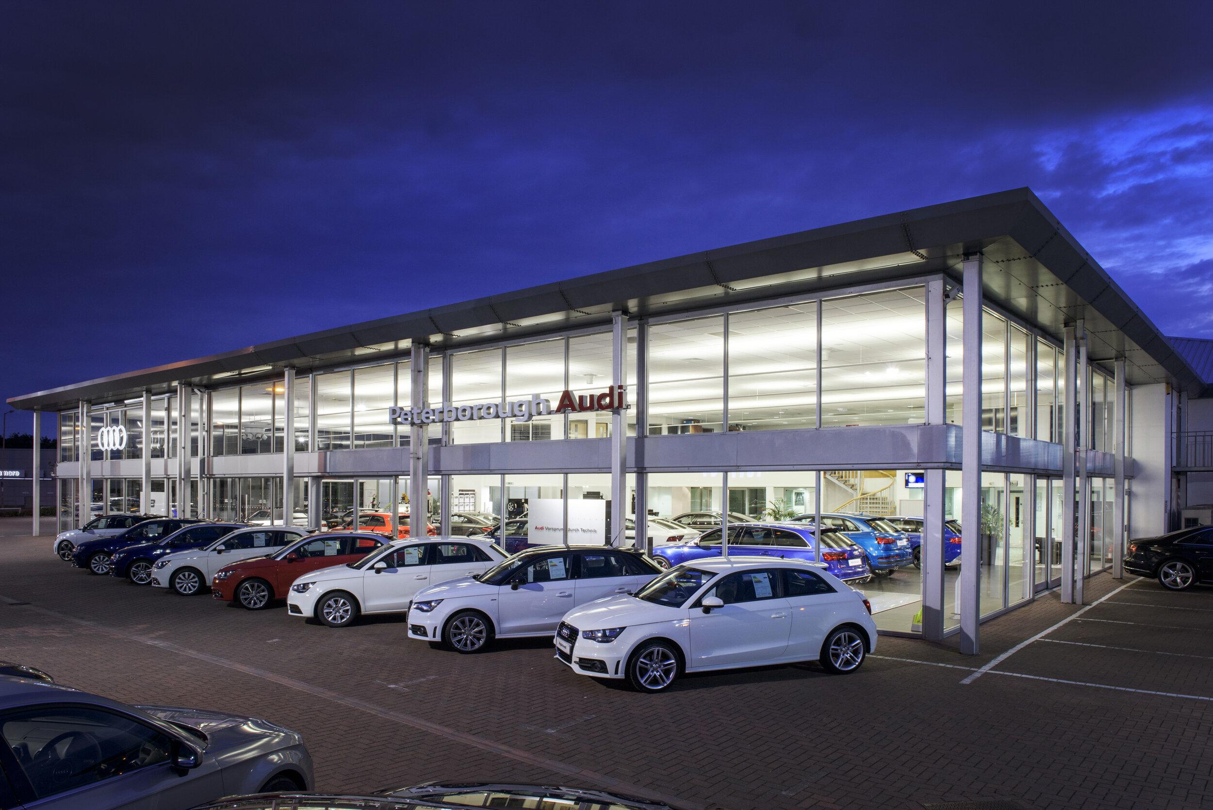 Audi Dealership - Location: Peterborough, CambridgeshireValue: £50,000.00Sector: New Build Commercial BuildingProducts: Aluminium curtain walling and sliding doors
