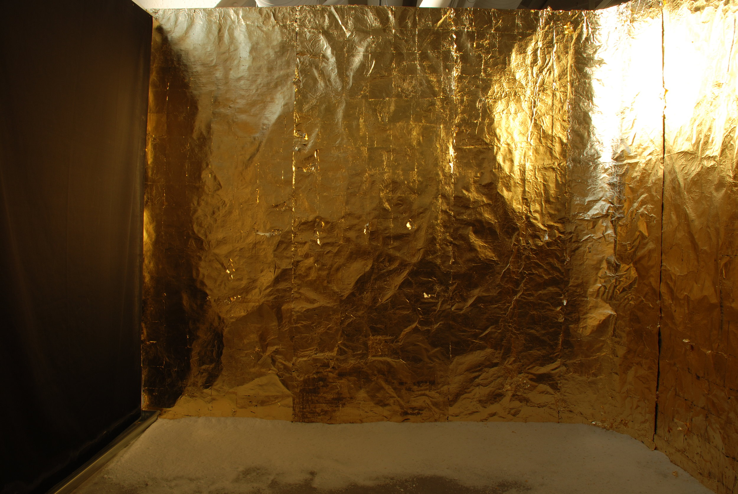 What Will Remain: Gold Room, 2017. This first iteration of What Will Remain was an installation San Francisco Art Institute, Fort Mason Campus using gold (imitation and genuine) covered foil to line my studio's walls as a response to the site's excess of salt air and sunshine.