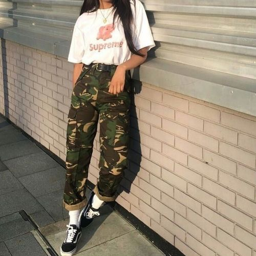 With a Statement Tee - I know it's easier said than done ( total lie), nail the effortless and 'i just threw this on' look by styling the trousers with a baggy tee , to add a confident and casual look to the outfit .