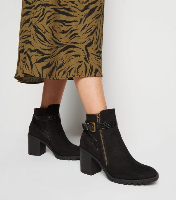Black Suedette Cleated Heeled Ankle Boots