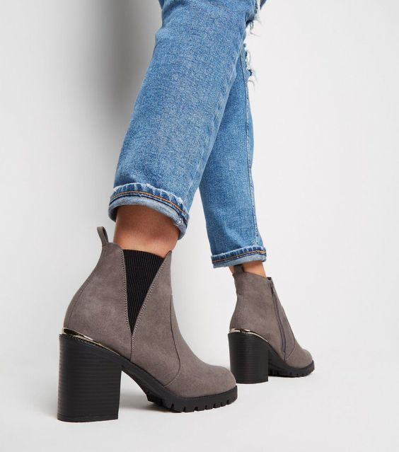 Wide Fit Black Suedette Cleated Ankle boots