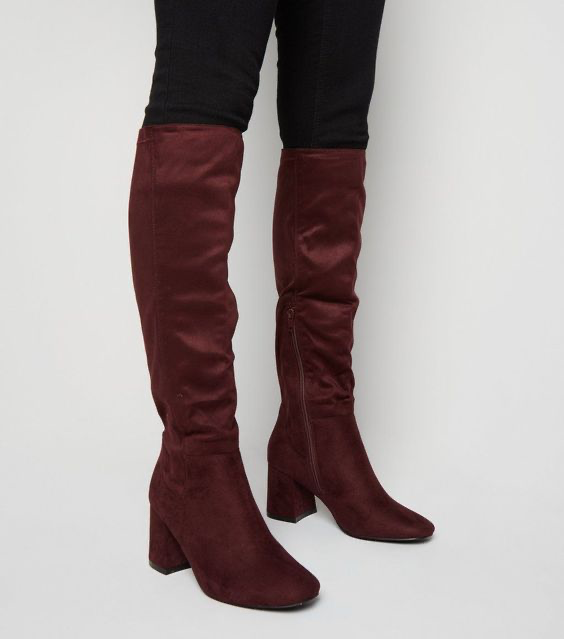 Wide Fit Black Flared Heel Knee High Boots