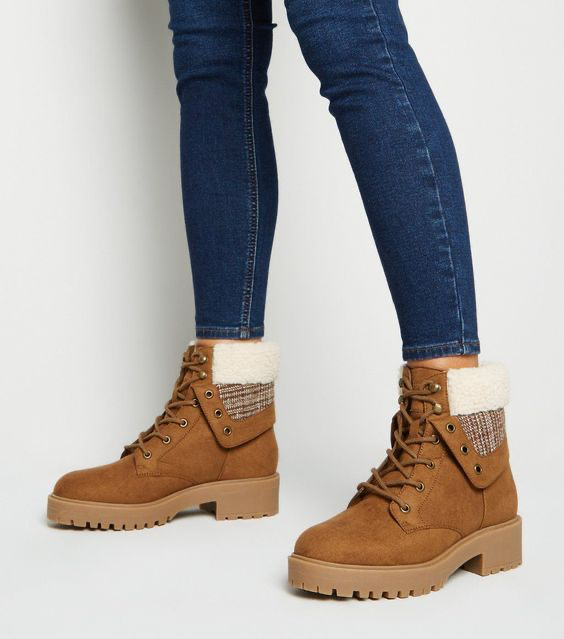 Tan Suedette Check Teddy Lined Chunky Boots
