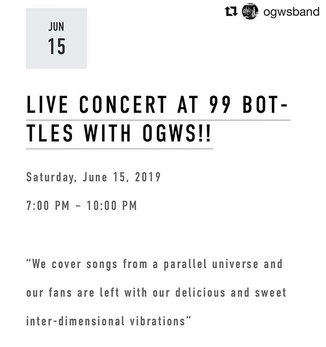 Make sure you stop in tomorrow night! #Repost ・・・ Coming at you LIVE from @99bottlespgh tomorrow night! Who doesn't need some delicious and sweet inter-dimensional vibrations?  #OGWS #HWTP #FILR #Glamgrunge #coverband #rockandroll #99bottlespgh