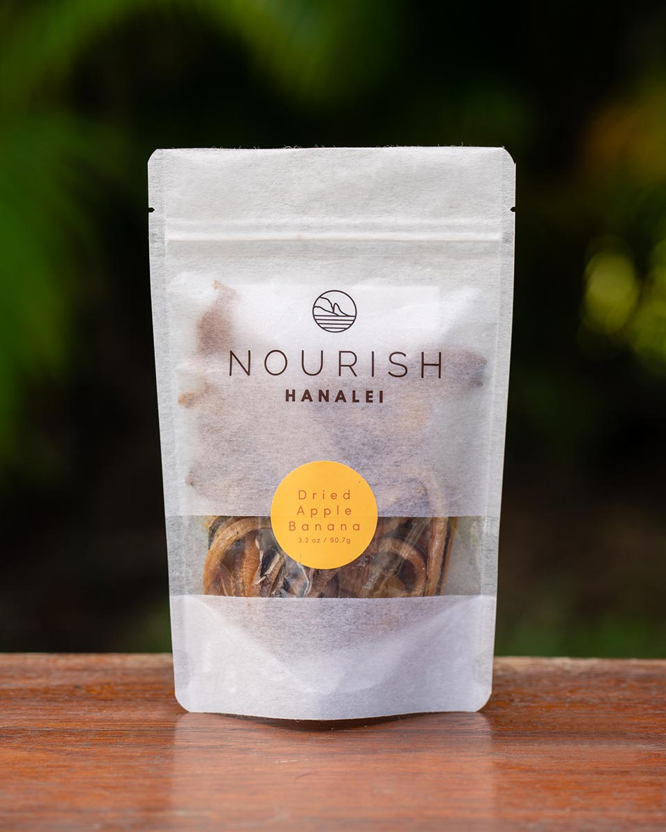 Our Hawaiian dried apple bananas come in 3.2 oz bags and 16 oz bags. So ono!!