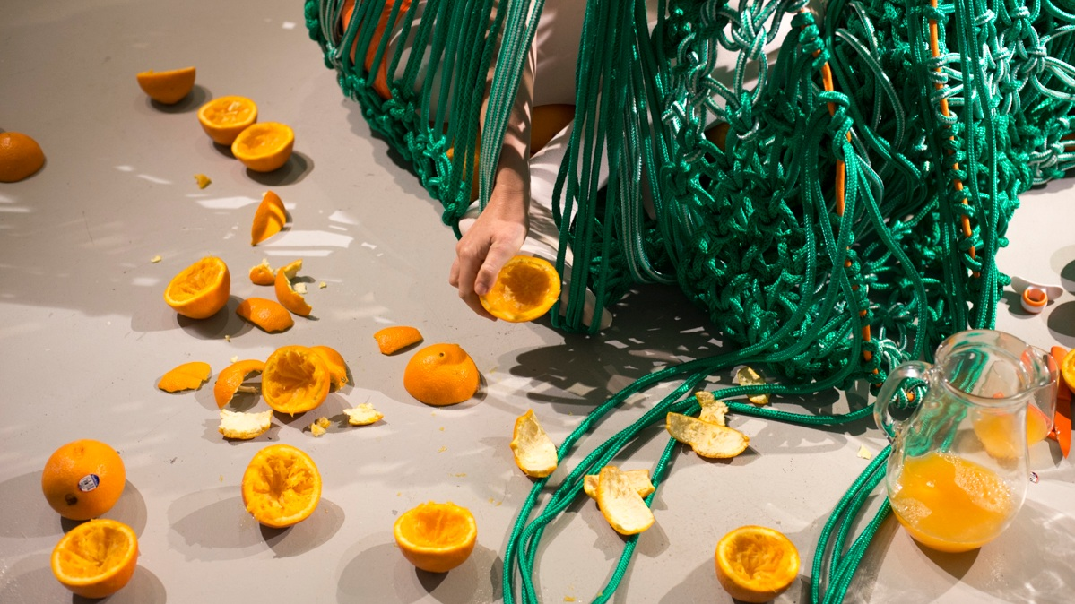 Photography by Steph Fuller.  Back And Forth (Conversation With Oranges) , Nexus Arts, Adelaide 2015.