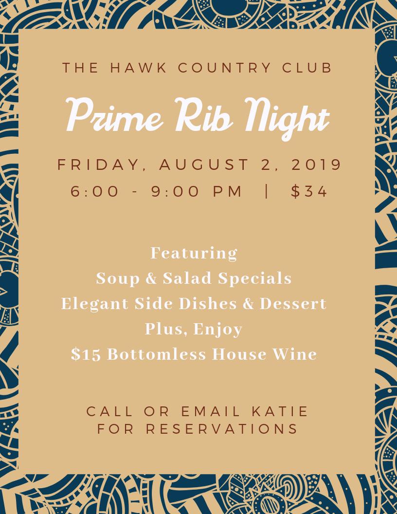 Hawk CC Prime Rib Night August flyer.png