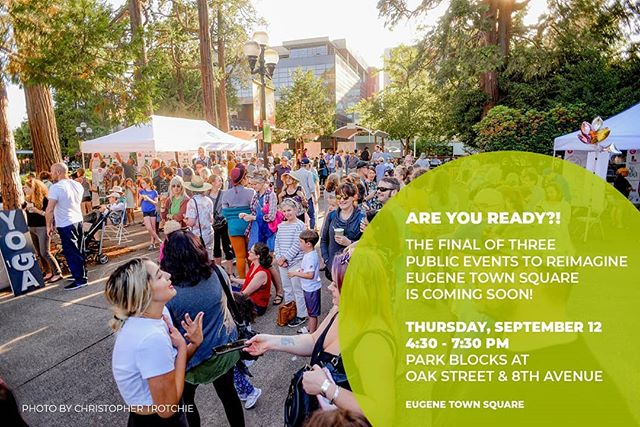 Ready for the September Shindig in the Park Blocks?! We are! 😁 . Join us September 12 from 4:30-7:30pm to check out the final draft concept for the Eugene Town Square design! What's a Shindig you might ask? Well, we'll have food trucks, a beer garden, family friendly activities, and performances through the evening for you to enjoy! Check out the website link in our bio for more info and to RSVP! 👍 . #letsdesignets #eugenetownsquare #eugparkblocks #cityofeugene #getinvolved #oregon #eugeneoregon #downtown #september #shindig