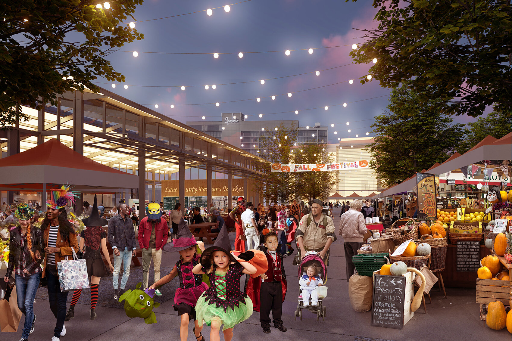 This illustration depicts the general feel of the space that would be accompanying the permanent Farmer's Market. The festive vibe is just so much fun.