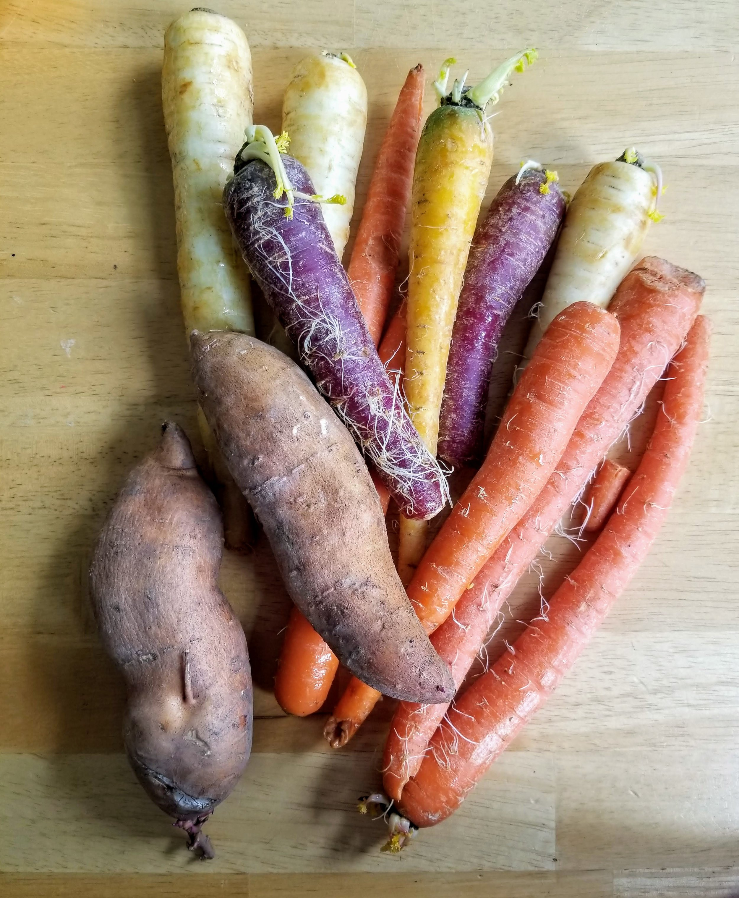 1. Root Veggies - Root vegetables balance hormones by balancing blood sugar through fiber. Carrots are especially helpful for preventing estrogen dominance. Sweet potato contains compounds that boost progesterone levels. Radishes, onions, garlic, turnips, parsnips, celeriac, and rutabaga balance hormones by providing food for the healthy bacteria in our gut.Carrots and radishes are easy to eat raw with dips. Turnips, parsnips, and rutabaga are easy to incorporate into soups and stews. Root vegetables can be roasted with olive oil or lard and eaten with sausage, or boiled, mashed, and whipped with butter to make a delicious mashed potato replacement. For extra micronutrients, buy rainbow varieties of carrots, potatoes, and radishes (Trader Joe's is the best grocer I know for making rainbow vegetables available at an affordable price).