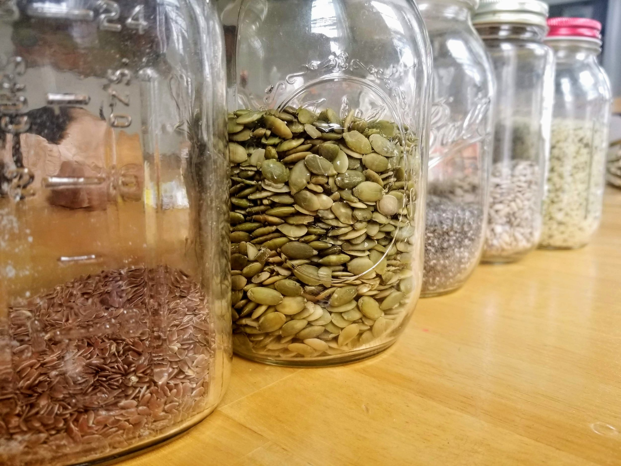 2. Seeds - Seeds are great sources of blood sugar balancing fiber, minerals, micronutrients, and hormone balancing omega 3 fats. Chia seeds for example, are a great source of iron, fiber, and omega 3 fatty acids. Pumpkin seeds contain compounds that balance gut bacteria and prevent the overgrowth of yeast and pathogenic bacteria. Flax seeds are a good source of omega three fatty acids and selenium, which promote hormone balance.For a seed that is rich in iron and has a calming effect, incorporate poppy seeds. My favorite recipe with poppy seeds is Magdalena Wselaki's Polish Poppy Seed cake (you can find the recipe here )
