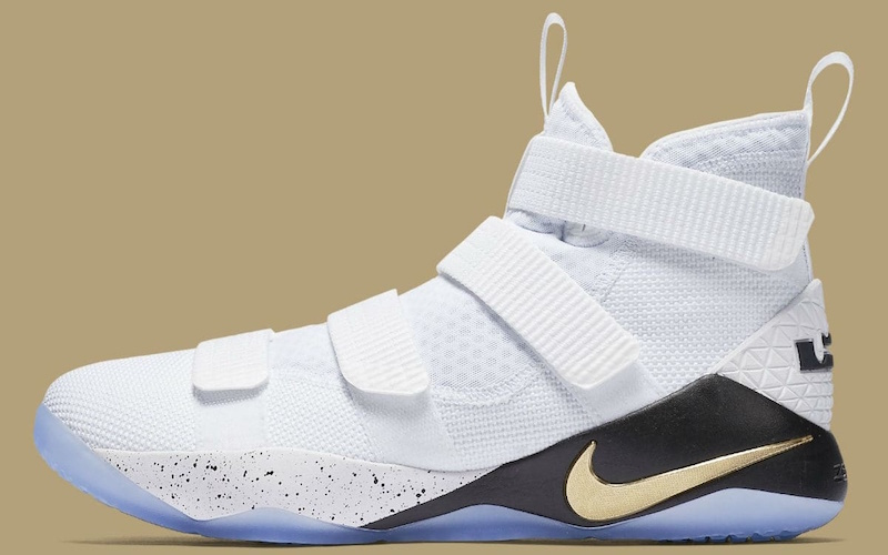 Nike Zoom LeBron Soldier 11 - The 11th version of LeBron's incredibly popular Soldier line, released in June 2017, features a slip-on laceless upper constructed out of a ventilated mesh, four straps, and a heel counter inspired by the Nike Zoom LeBron Soldier 9.