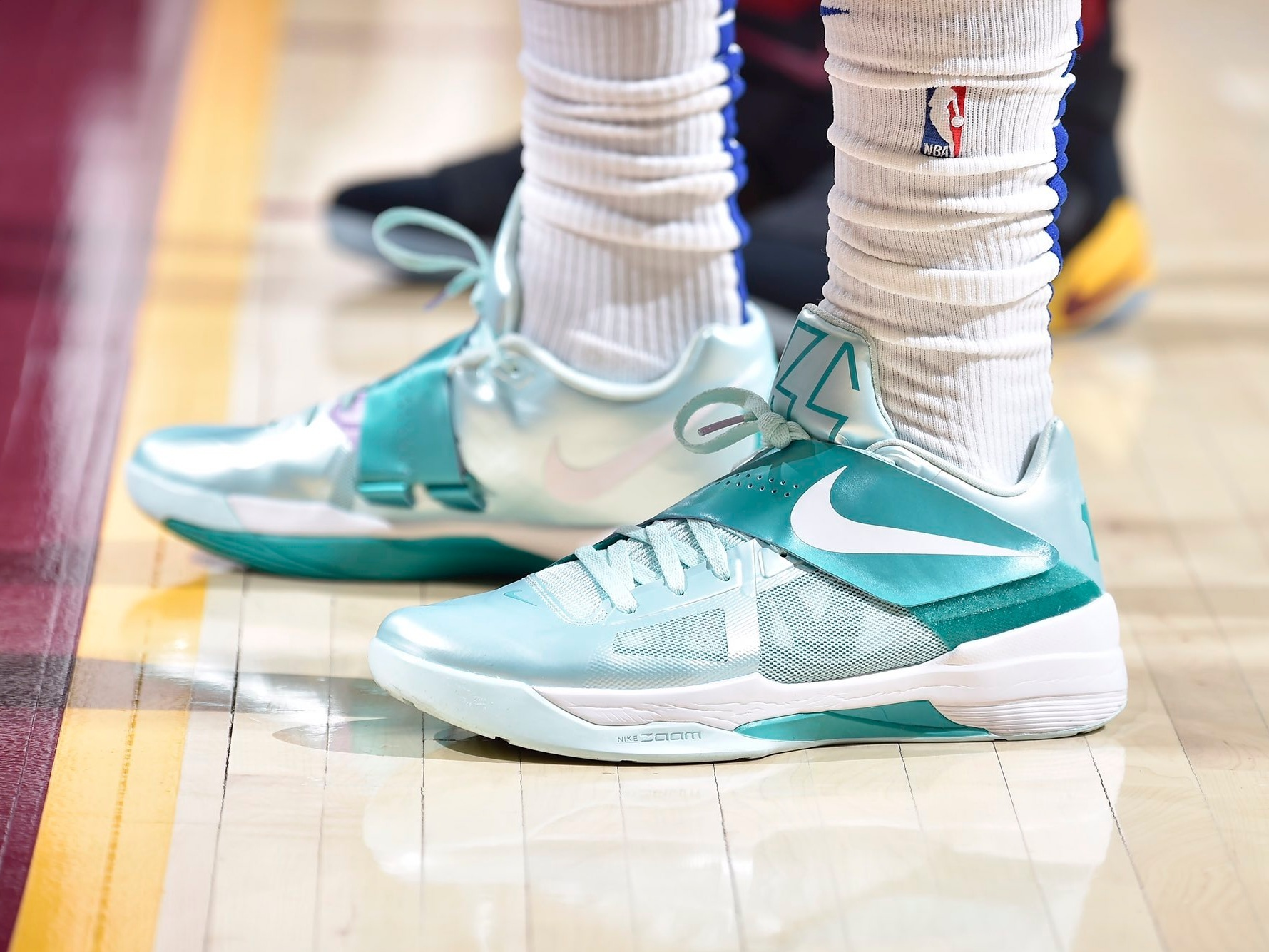 "Montrezl Harrell sporting the Nike KD 4 ""Easter"" -"