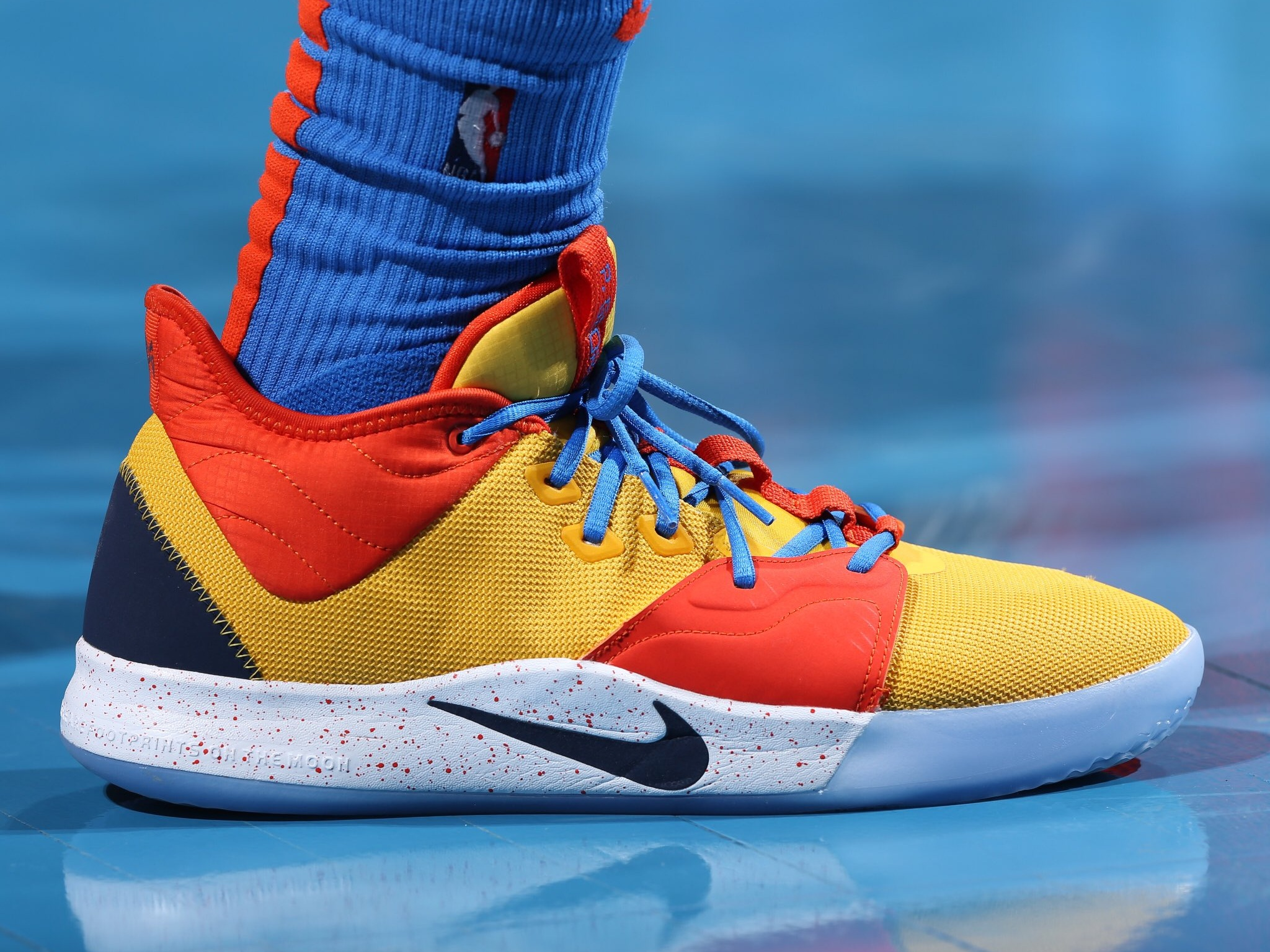 Paul George in the mustard and ketchup Nike PG 3 - Oklahoma City Thunder vs. Dallas Mavericks | March 31, 201927 Points2 Assists11 Rebounds2 Steals8-20 Shooting