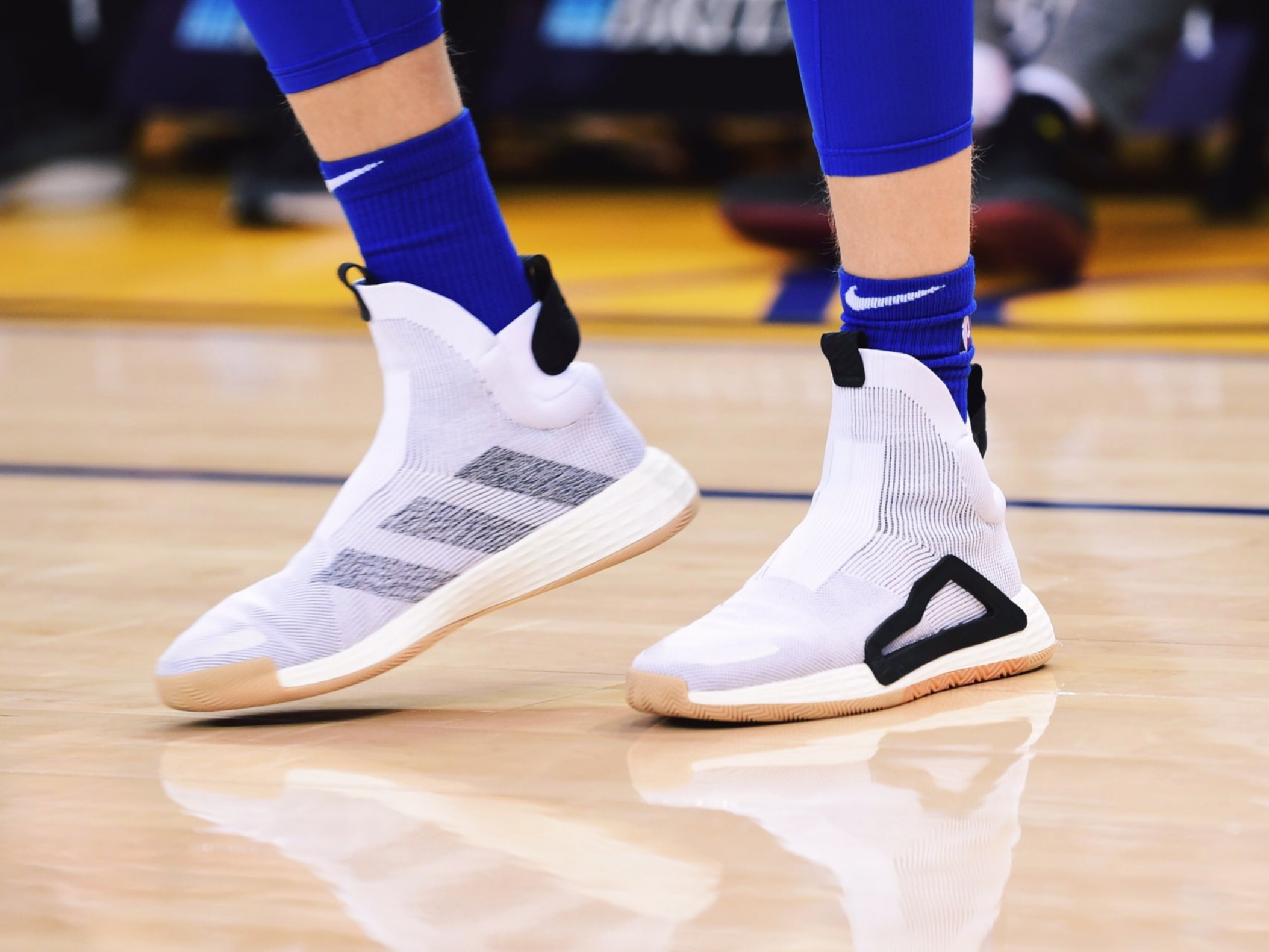 Kristaps Porzing lookin' fly during pregame warmups in the Adidas N3XT L3V3L -