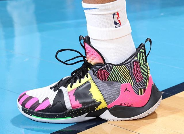 Russell Westbrook again with the custom Jordan Why Not? Zer0.2  Oklahoma City Thunder vs. Detroit Pistons | April 5, 2019  19 Points  15 Assists  8 Rebounds  1 Steal  6-18 Shooting