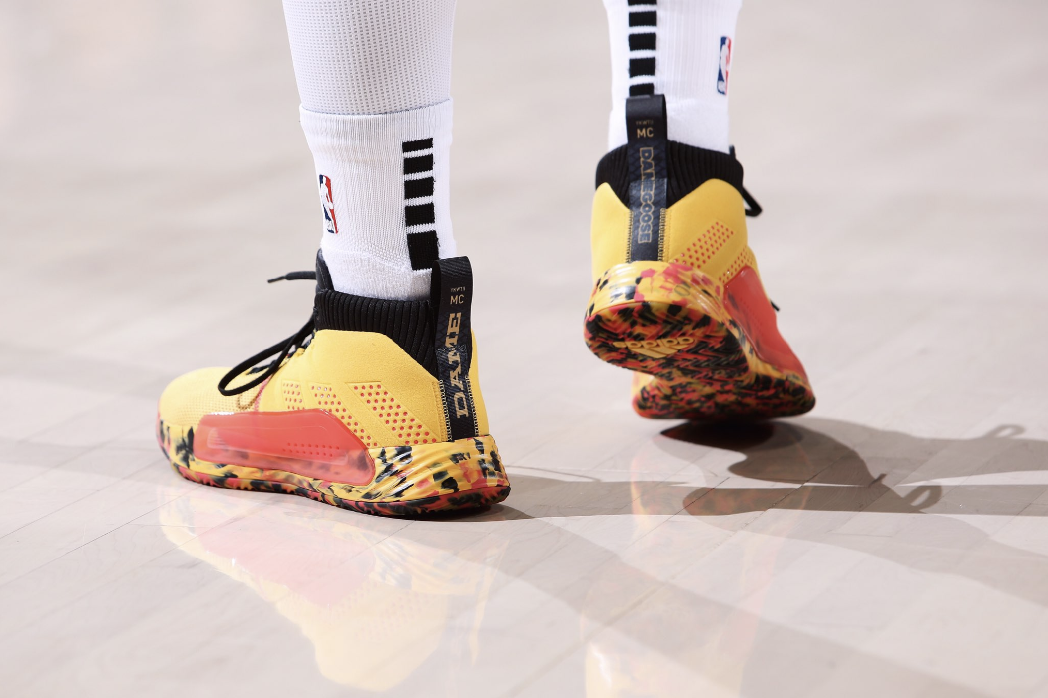 "Damian Lillard in the Adidas Dame 5 ""Dame Goose"" kicks inspired by his childhood bike - Portland Trail Blazers vs. Denver Nuggets 