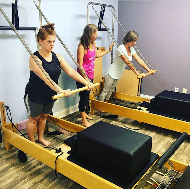 Reformer Pilates - Create body awareness, improve strength, flexibility, and mobility while reducing stress on muscles and joints using the reformer. We offer private and semi-private reformer sessions as well as daytime and evening classes.