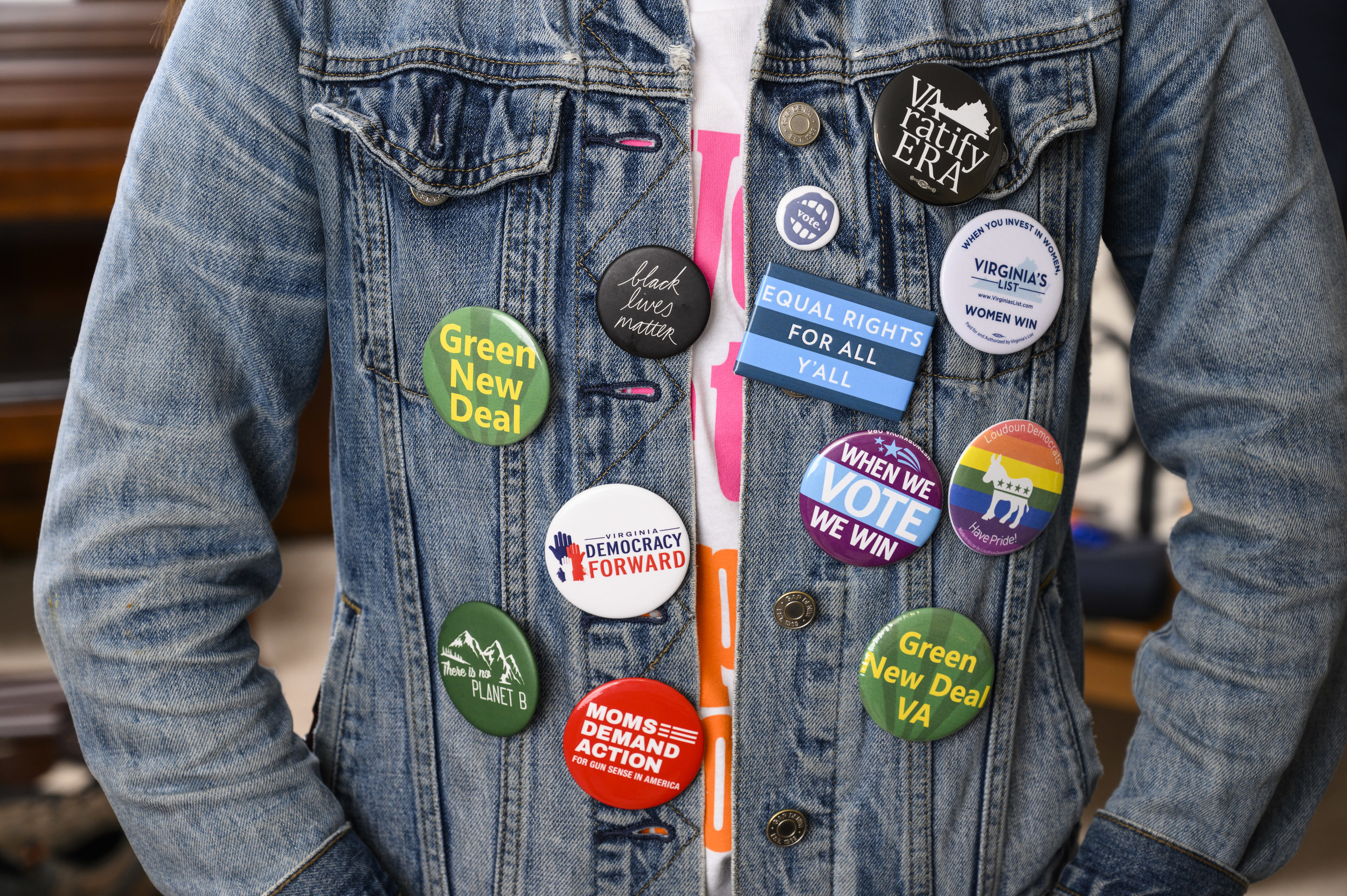 You've pinned the issues on me and my jean jacket. - We're fighting for a Virginia that includes everyone. That means considering the issues that affect all of us. Check out the buttons on my jean jacket to learn more about what I stand for!