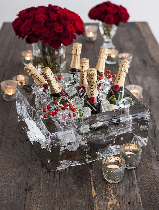 This stunning ice bucket was also sourced from Ice Creations. I just love the contrast against the red and gold in this image.