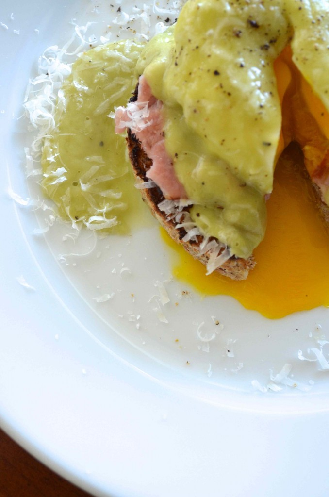 A New Take On Eggs Benedict made with a much healthier hollandaise sauce made from avocados. From Scratch With Maria Provenzano