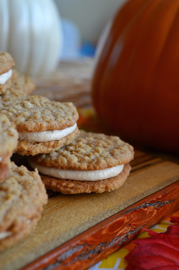 Pumpkin Spiced Oatmeal Cream Pies with Maple Frosting