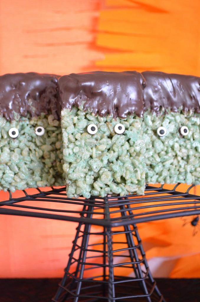 Frankenstein rice krispie treats from scratch with maria provenzano