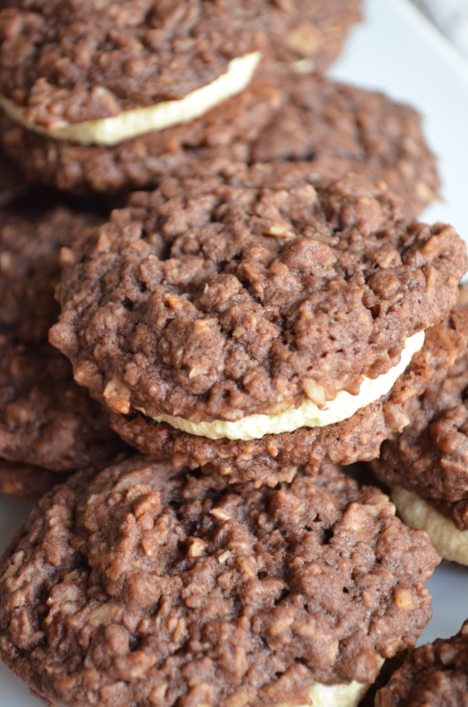 Chocolate Oatmeal Cream Pies With Pumpkin Spiced Frosting