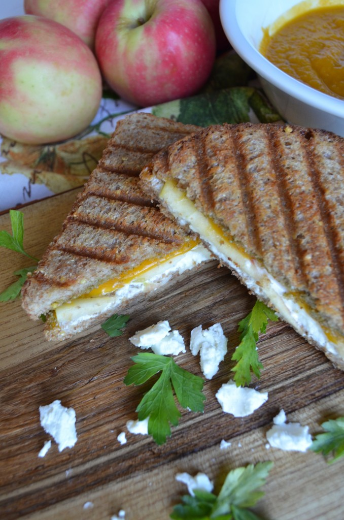Goat Cheese, Cheddar, Apple, and Pesto Panini from scratch with maria provenzano