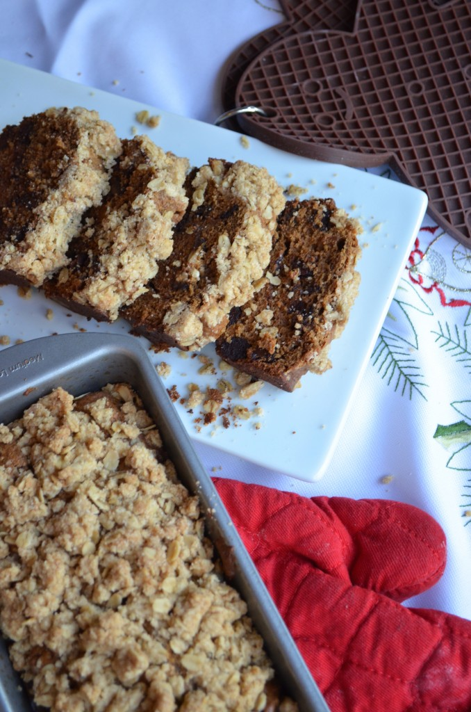 Gingerbread Loaf With Dark Chocolate and Spiced Crumble Topping
