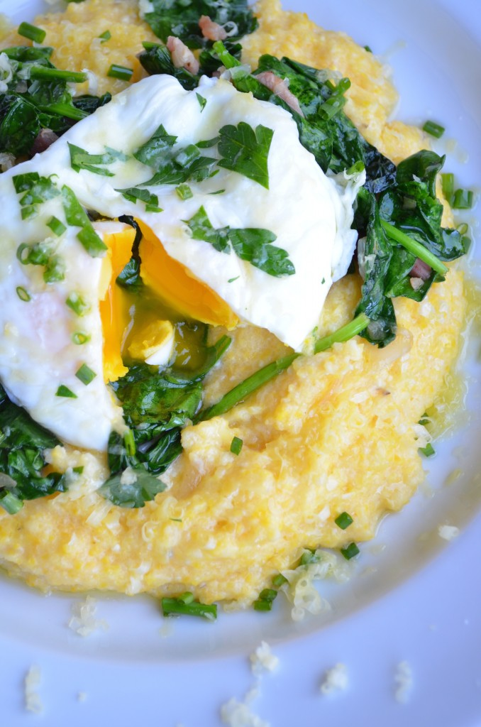 Creamy Cheddar Cheese Grits with Sautéed Spinach, Pancetta, and Poached Eggs