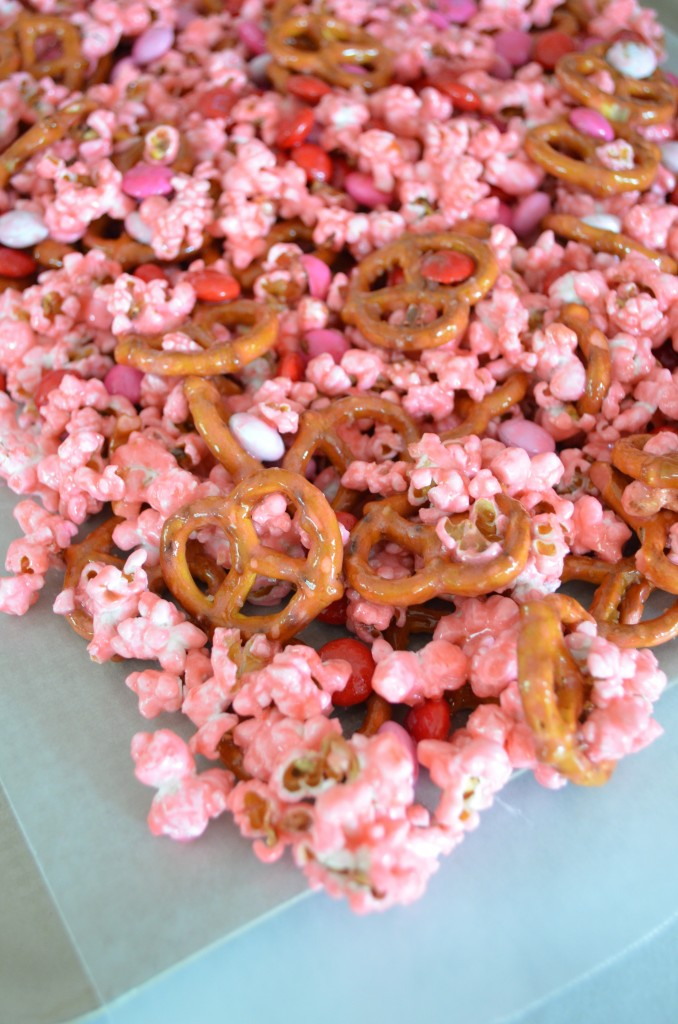 Pink Popcorn with Pretzels and M&Ms From Scratch with Maria Provenzano Click for Valentine's Day recipe