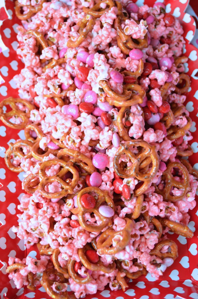 Pink Popcorn with Pretzels and M&Ms