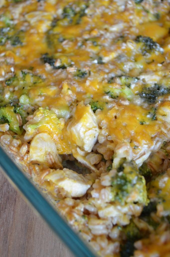 Cheesy Farro, Chicken, and Broccoli Casserole