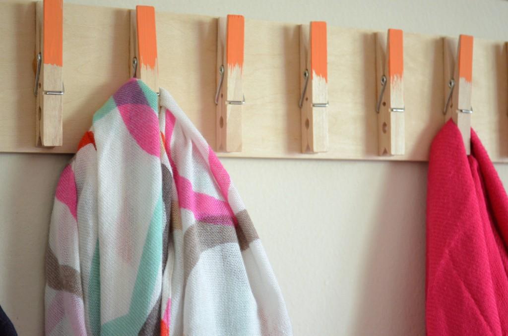 DIY Clothespin Scarf Holder