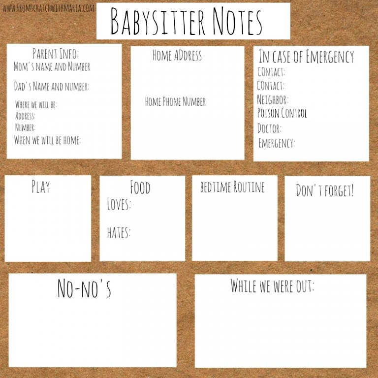 Babysitter notes for kids ages 1 and up