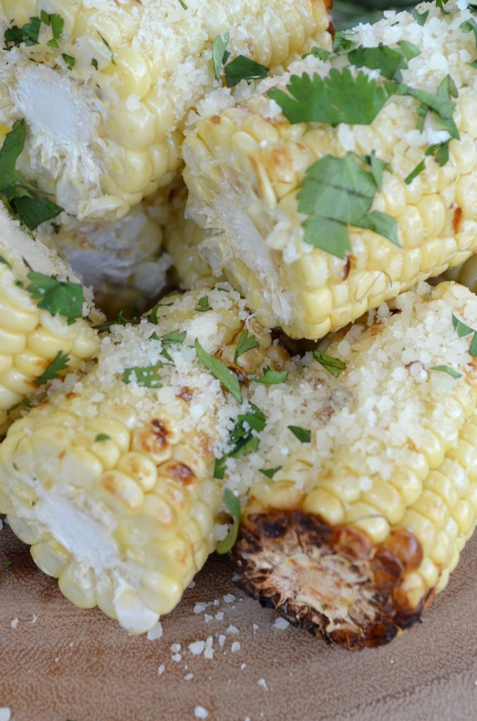 Grilled Corn with Parmesan and Fresh Herbs