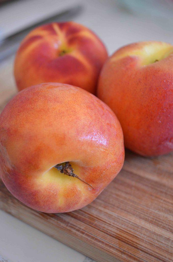 Crostini with Peaches, Ricotta, Prosciutto, Honey and Basil