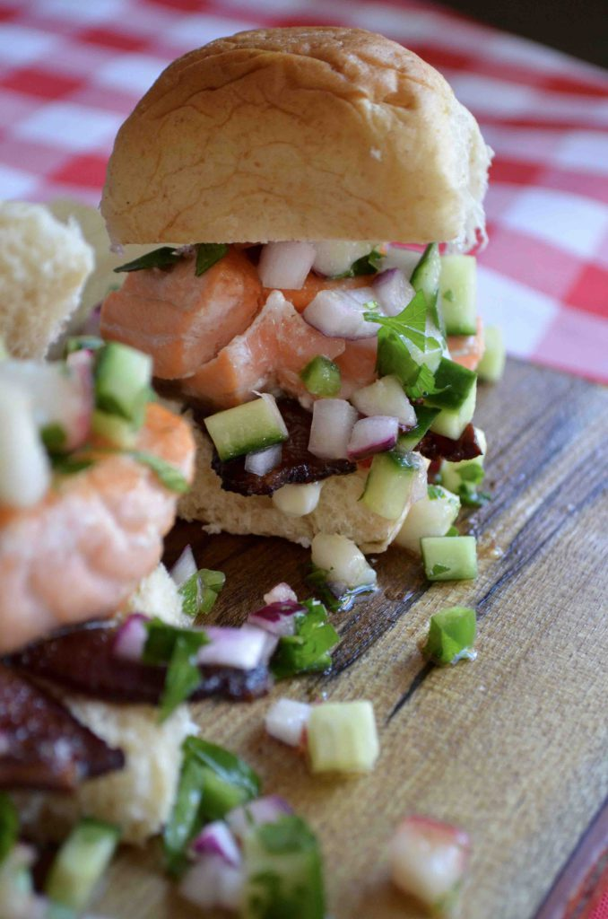 Salmon Sliders with Bacon and Cucumber + Peach Salsa