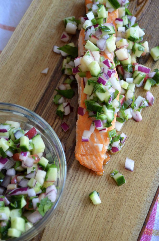 Salmon with Peach and Cucumber Salsa