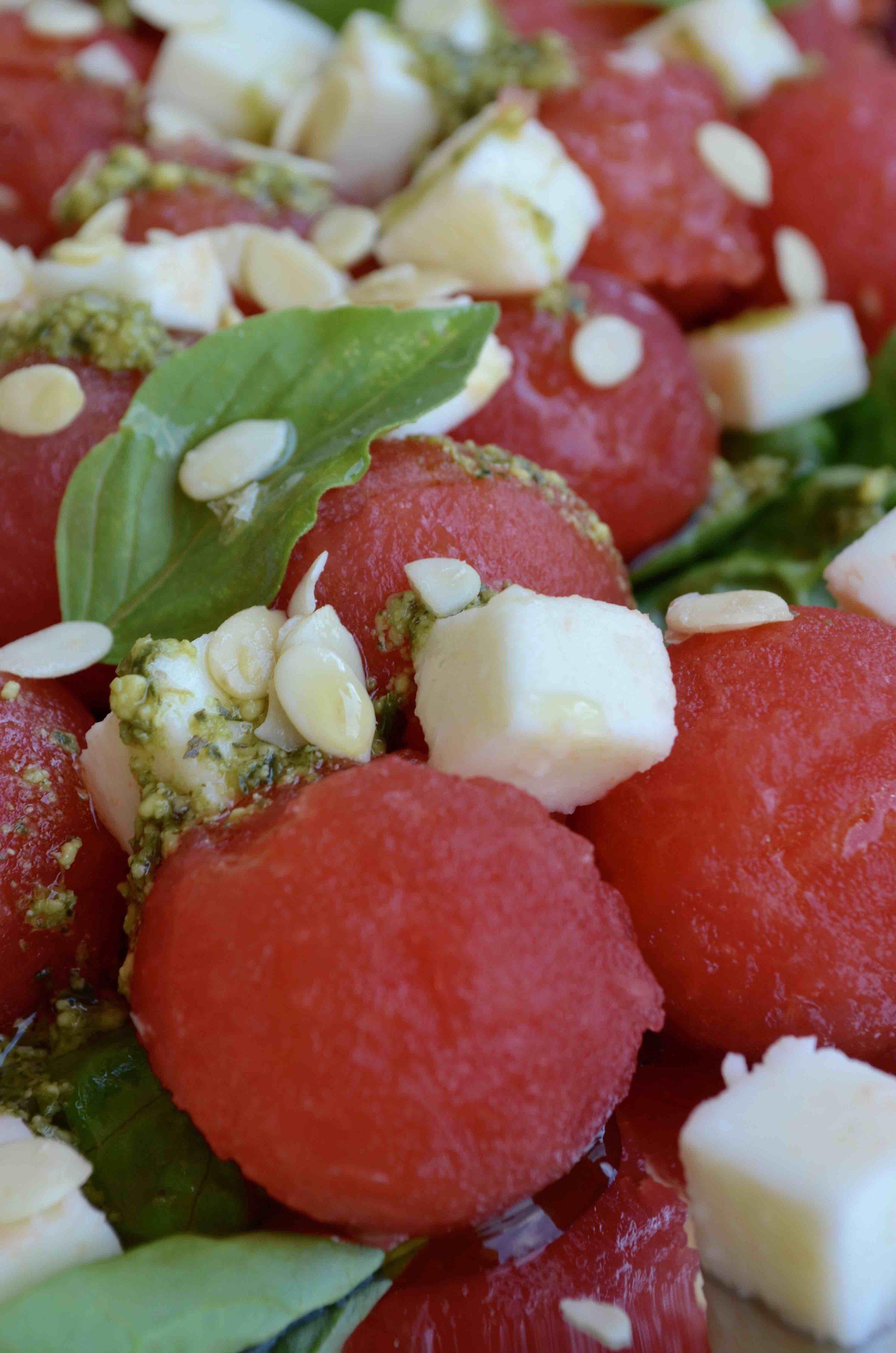 Watermelon Caprese Salad with Go Raw Watermelon Seeds