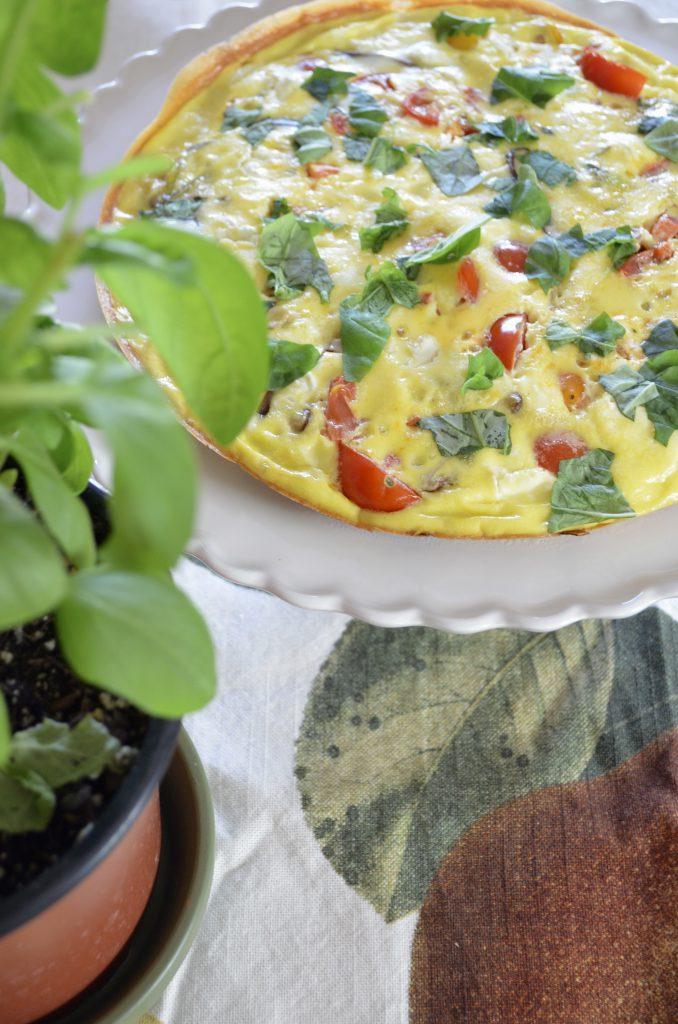 Leek, Mushroom, Goat Cheese, and Tomato Frittata
