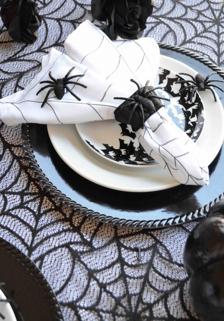 Spiderweb Napkins With Sparkly Spider Napkin Ring