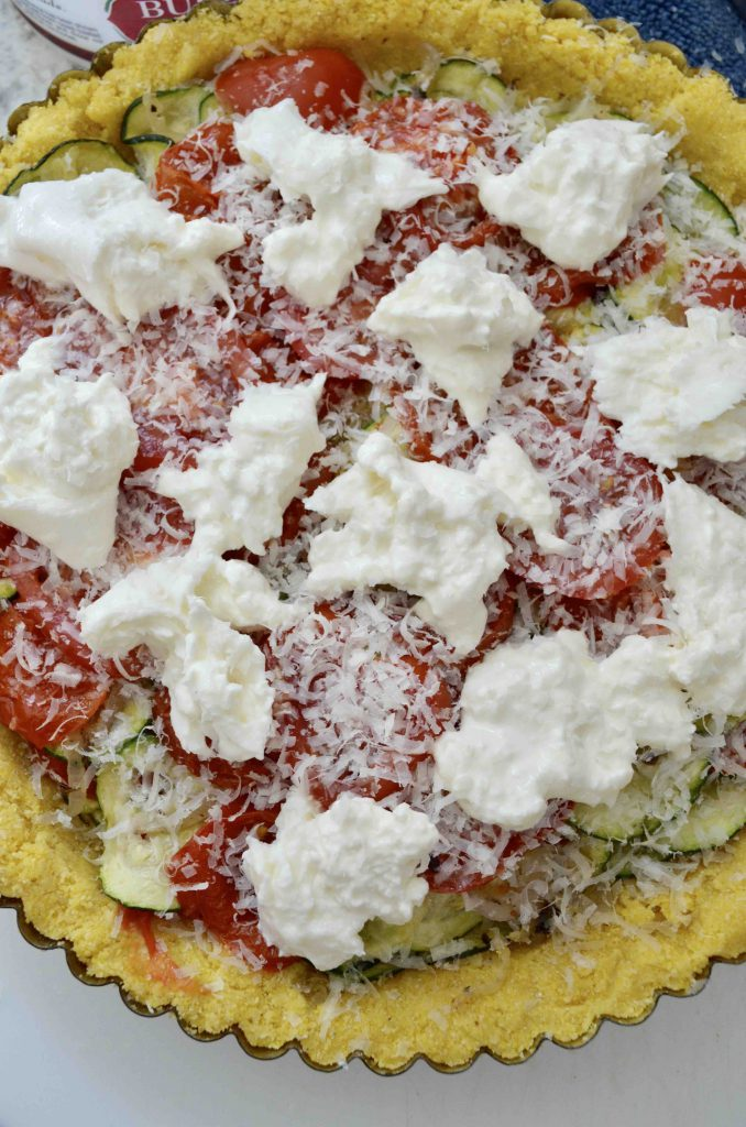 Roasted Tomato and Zucchini Tart with Burrata and Basil