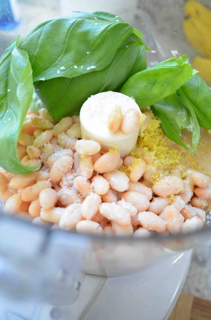 Lemony White Bean and Basil Hummus