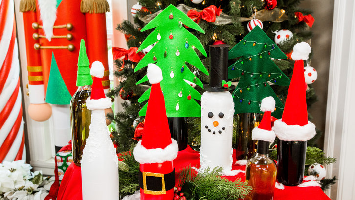 DIY Christmas Wine Bottles for Christmas in July on Hallmark's Home and Family Show