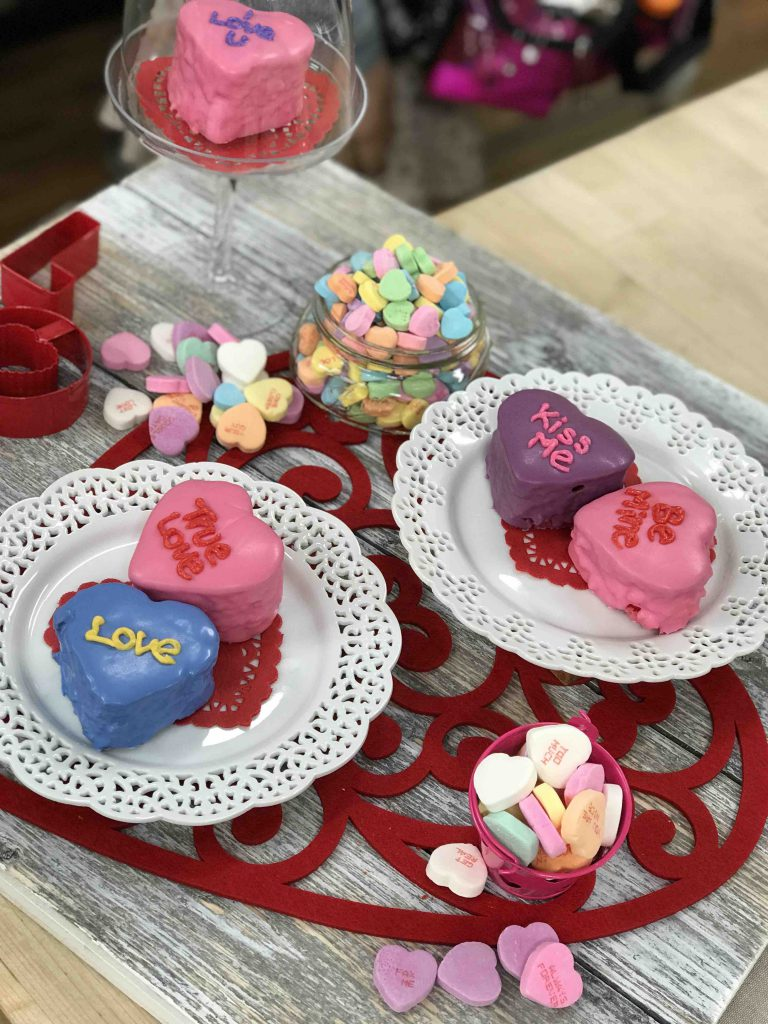 Conversation Heart Cakes for Valentine's Day