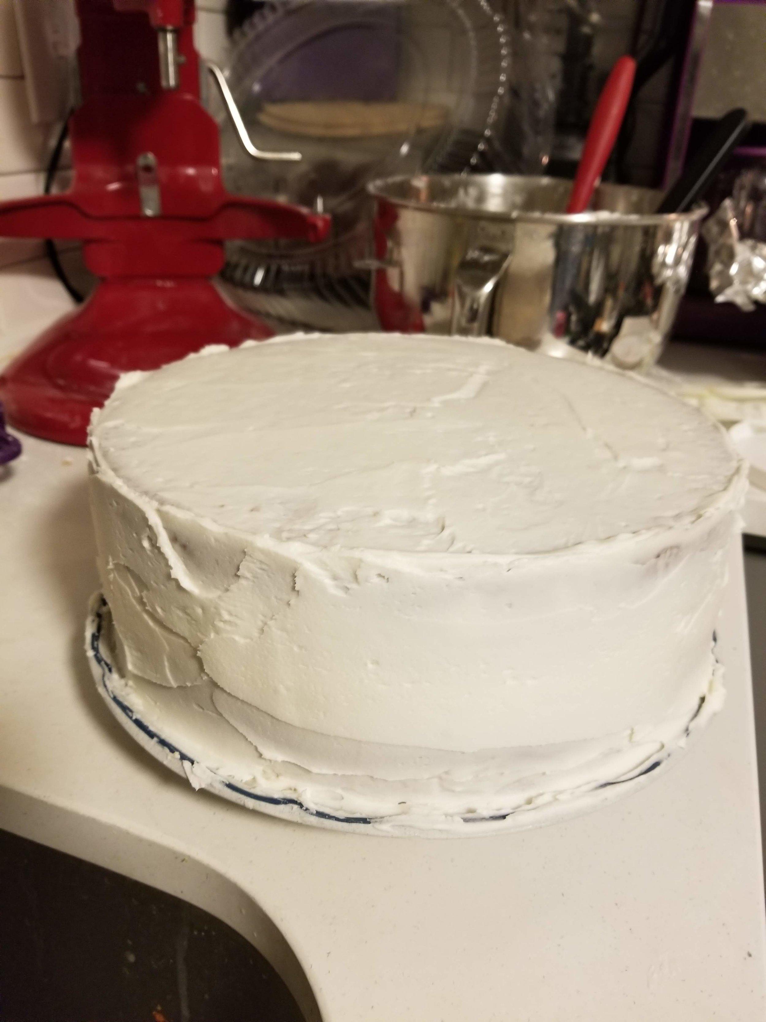pre-decorating son's 2nd birthday cake